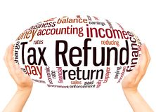Tax Refund word cloud hand sphere concept. Tax Refund, word cloud hand sphere concept on white background royalty free stock photos