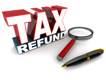 Tax refund. Word in 3d over white background, lying next to a pen and magnifying glass Royalty Free Stock Photography