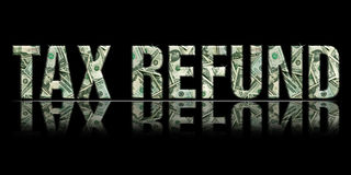 Tax Refund1. Dimensional Reflective Embossed Money Word Refund Perspective Black Background vector illustration