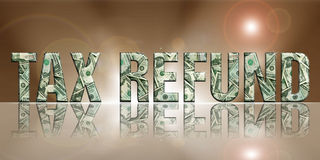 Tax Refund4. Dimensional Reflective Embossed Money Word Refund Perspective Translucent Background vector illustration