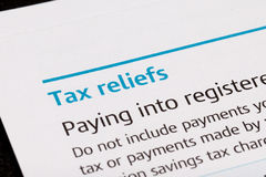Tax reliefs Royalty Free Stock Photography