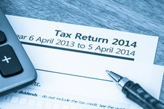 Tax Return Form 2014 Royalty Free Stock Photos