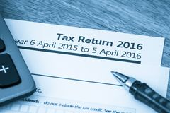 Tax return form 2016. HMRC income tax return form 2016 for UK Stock Photo