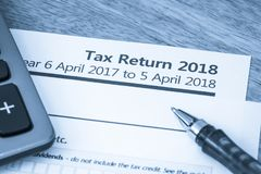 Tax return form UK 2018. UK HMRC self assessment income tax return form 2018 stock photography