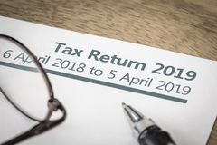 Tax return form UK 2019. UK HMRC self assessment income tax return form 2019 royalty free stock images