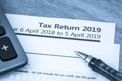 Tax return form UK 2019. UK HMRC self assessment income tax return form 2019 royalty free stock photography