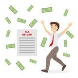 Tax return illustration. Happy businessman with money rain Stock Photo
