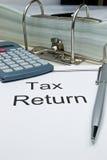 Tax return papers Stock Photos