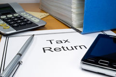 Tax return papers Stock Images