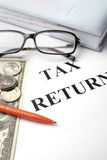 Tax return papers Stock Photo