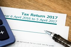 Tax return UK 2017. Close up of UK Income tax return form with tax period for 2017 Royalty Free Stock Photography