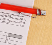 Tax Returns. Tax Return With Pen On Desk Royalty Free Stock Image