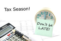 Tax Season! Business Concept Image. Concept Image with calculator and clock. Tax Season! Don`t be late Royalty Free Illustration