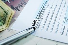 Tax Season: 1040 U.S. Individual Income Tax Return Form Horizontal - image royalty free stock photos