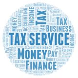 Tax Service word cloud. Wordcloud made with text only royalty free illustration