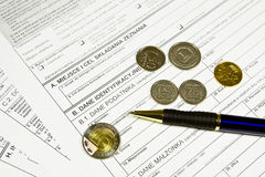 Tax sheets in Poland - PIT, ZUS Royalty Free Stock Photography