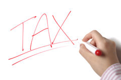 Tax sign on whiteboard stock photos