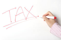 Tax sign on whiteboard Royalty Free Stock Photo