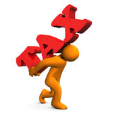 Tax Stress. Orange cartoon character with a big text tax Stock Photos