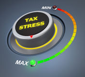 Tax stress. Button position. Concept image for illustration of  in the maximum position , 3d rendering Stock Photography