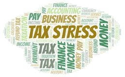 Tax Stress word cloud. Wordcloud made with text only stock illustration