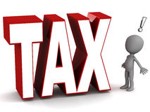 Tax. Or ation concept, little 3d man facing a big  text Stock Photos
