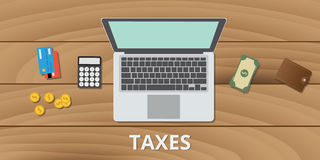 Tax taxes manage budget and document use money calculator. And payment method vector Royalty Free Stock Photo