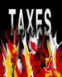 Tax taxes taxation. An image showing the word taxes on a black background with flames burning the word coming from below it and making it melt. The tax year Royalty Free Stock Photography