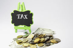 Tax Text and Money - Business Concept Royalty Free Stock Image