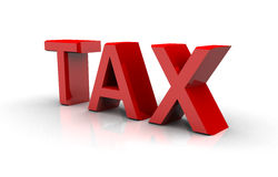 Tax text in red Royalty Free Stock Images