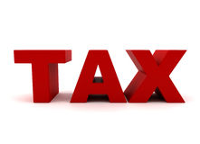 Tax. Text in red isolated on white Royalty Free Stock Photo