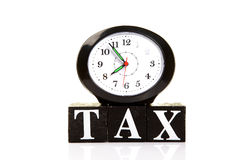 Tax time. Conceptual image of tax time with white background royalty free stock images