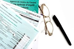 Quebec income tax form in french Stock Photo