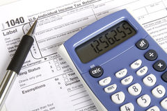 Tax Time. Tax preparation and other tools Royalty Free Stock Image