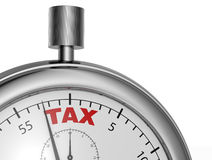 Tax time. One stopwatch with the word tax printed on the dial (3d render Royalty Free Stock Image