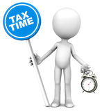 Tax time. On a blue banner, little 3d man holding a road sign on white background Stock Photo