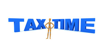 Tax Time. Wooden mannequin standing in front of the words Tax Time Royalty Free Stock Image