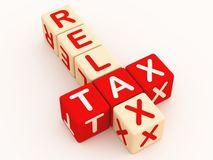 Tax time assurance. Tax and relax words in a crossword in red, showing assuraning help at tax time stock illustration