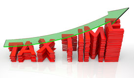 Tax Time Barchart with Transparent Arrow. 3D Rendering Royalty Free Stock Images