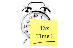 Tax time on the clock Royalty Free Stock Photos