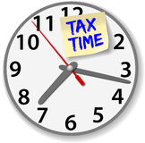Tax Time Clock taxes due date. Time clock post it note reminder of taxes due time date royalty free illustration