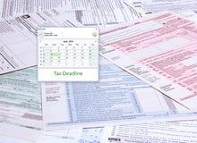 Tax Time Computer Calendar stock images