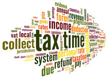 Tax time concept in word tag cloud. On white background Stock Images