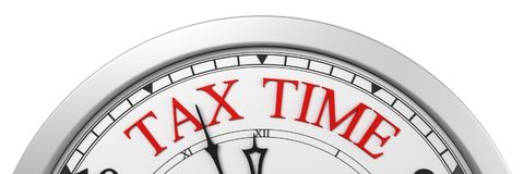 Tax time deadline on a clock. 3d render Royalty Free Stock Photos