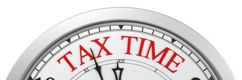 Tax time deadline on a clock stock illustration