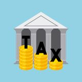 Tax time design. Bank icon with gold coins over blue background. tax time design. vector illustration Royalty Free Stock Photo