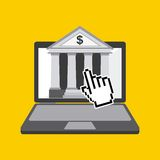 Tax time design. Bank icon on laptop computer screen over yellow background. tax time design. vector illustration Royalty Free Stock Photo