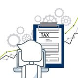 Tax time design. Tax document and man in a laptop over white background. tax time concept. colorful design. vector illustration Stock Images
