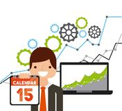 Tax time design. Laptop computer and cartoon businessman holding a calendar over white background. tax time design. vector illustration Stock Photo
