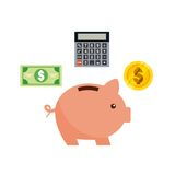 Tax time design. Piggy moneybox with money bill and coin and calculator around over white background. tax time design. vector illustration Royalty Free Stock Photo